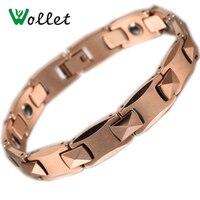 2014 WOLLET Valentine S Day Gift Gold Foil Bio Hematite Germanium Titanium Magnetic Bracelet For Men