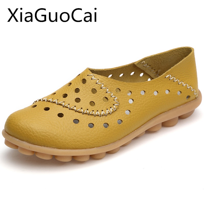 Woman Flat Shoes Lightweight Antiskid Breathable Loafers for Ladies Hollow Female Oxfords Soft Bottom Flats Plus Size