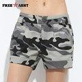 Nova Moda Das Mulheres Shorts de Verão Meados de Cintura Shorts Jeans Soltos Mulheres Casuais Calções Camuflagem Militar Shorts Plus Size Gk-9326B