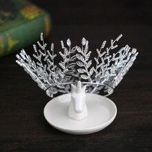 Trendy Silver Crystal Tiara Round Wedding Big Crowns For Bride Women Hair Accessories Crystal Queen Crown Wedding Hair Jewelry