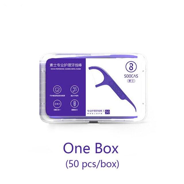 Xiaomi Soocas зубочистки зубная нить лента скребок 3 в 1 Xiaomi Soocare Чистящая профессиональная зубная нить 50 шт. зубочистки - Цвет: Color