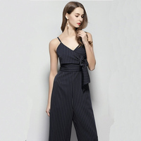 Women Striped Lace Up Camisole Jumpsuits Rompers Womens 2018 Summer Jumpsuit Mono Mujer Combinaison Short Femme