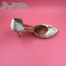8CM High Heel Beige Satin Women Pumps Crystals Wedding Shoes Stilettos Real Photo Female Salto Alto Feminino Two Piece Pumps
