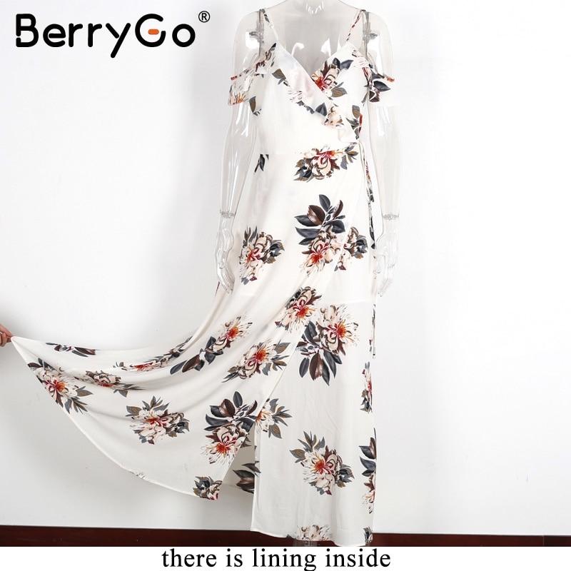 BerryGo Floral print ruffles chiffon maxi dresses Strap v neck split beach summer dress Sexy backless women dress long vestidos 4