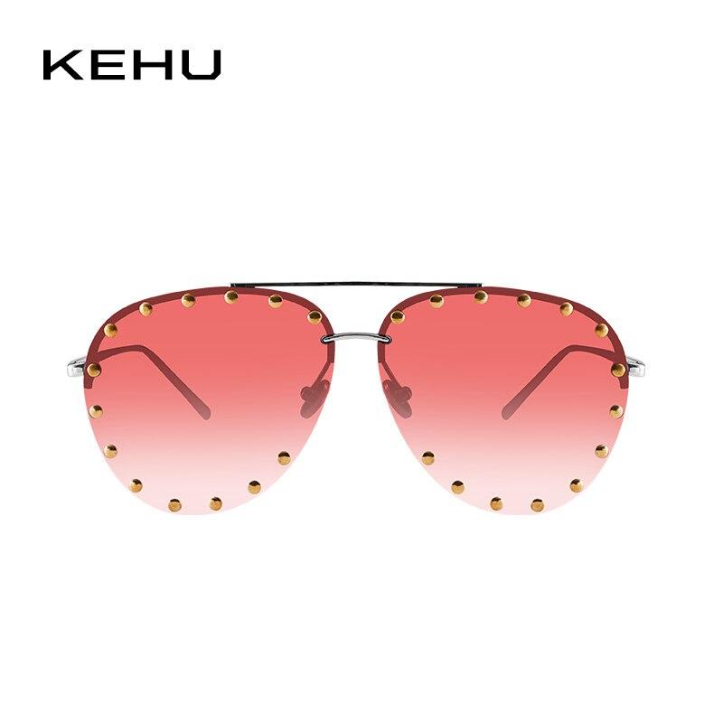 KEHU Brand Design New Fashion Rimless Women Sunglasses Pilot Tidal Current Flattop Rivet Sunglasses Women Gradation Lens K9280