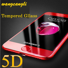 Wangcangli5D screen protector Protector for iPhone 7 Plus 4D 5D Full Screen Cover Glass iPhone7 Tempered