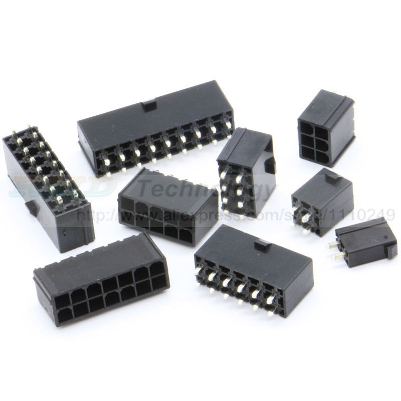 10pcs/lot 5569 4.2mm Black Automotive wiring connector straight pin female 2 - 12 pin for PC/computer graphics card ATX on board 90 pin automotive computer welded board automotive computer control system with terminal dj7901 1 5 10 90p connector