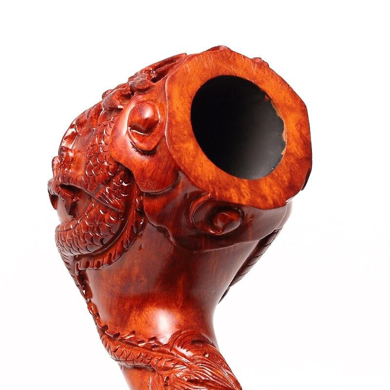 2020 nouveau dragon chinois ADOUS sculpté à la main briar pipe à tabac fumer tuyaux incurvés 9MM - 4