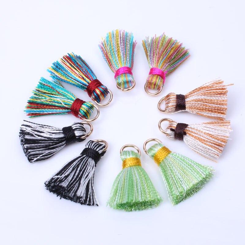 2cm Mini Silky Tassels Colorful Small Tassels for bohemia jewelry diy boho bracelet necklace making Supplies 10pcs/lot