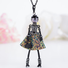 цена на HOCOLE French Doll Necklaces Pendants Jewelry Dress Crystal Sweater chain Statement Long Necklaces Neck Jewelry for Girls Women