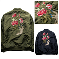Undercover MA1 Military Bomber Jacket Men New Hip Hop Ghost Hand Embroidery Rose Flower Thermal Alpha Pilote Jackets Motor Coat