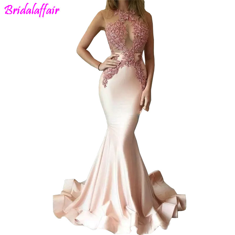 2018 Elegant Mermaid   Prom     Dresses   Beaded Sheer Neck Halter Lace Appliques Backless Satin Sexy See Though Formal Party   Dress