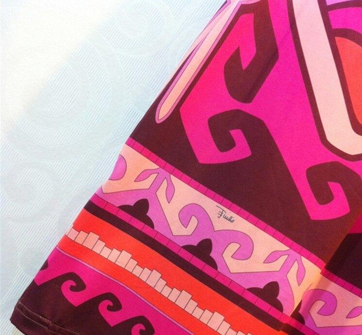 Designer Seta Xxl Maniche rosso Dress Cielo Plus Lussuoso Donne Con Stampa Geometrica Brands Azzurro Collare Del Delle Basamento Di Elastico Size Mezze 6x51AYUqw