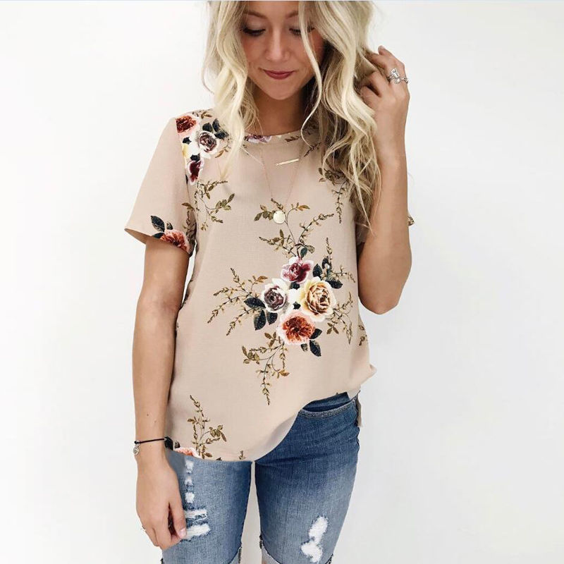 2017 Hot Summer Women Blouse Floral Print Short Sleeve Chiffon Loose Blouse Shirt Ladies Casual Tops Khaki White Navy Blue Luxuriant In Design