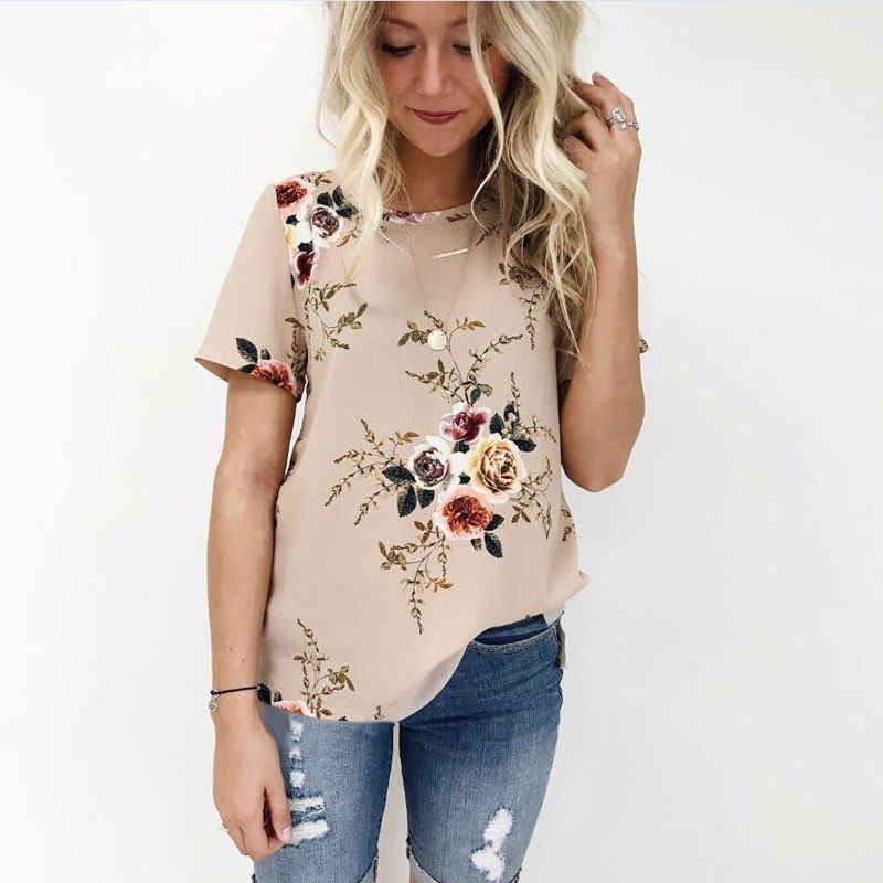 16e4740c975 2017 HOT Summer Women Blouse Floral Print Short Sleeve Chiffon Loose Blouse  Shirt Ladies Casual Tops