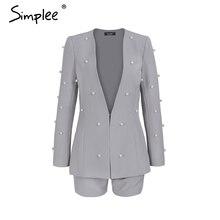 Simplee OL work wear pearl women suits blazer Office uniform style lady suits Chic vintage jumpsuit romper female short overalls