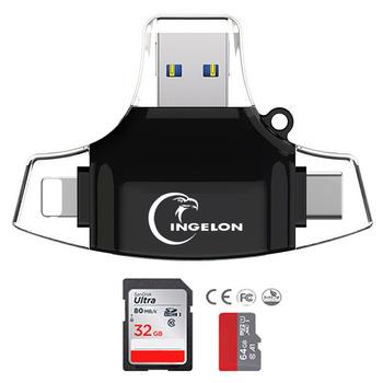 Czytnik kart SD 4 w 1 microSD Adapter XQD idragon czytnik kart USB typu C C OTG smartfon czytnik Plus TF SD 16 GB 32 GB karty SD tanie i dobre opinie Zewnętrzny Wszystko w 1 Wiele w 1 Karta pamięci Karta MMC Karta SD Karta TF Micro SD Karta XD INGELON R012 Card reader