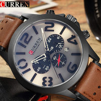 Curren Mens Watches Top Brand Luxury Chronograph 24h Quartz Watch Men Casual Sport Clock Waterproof Leather
