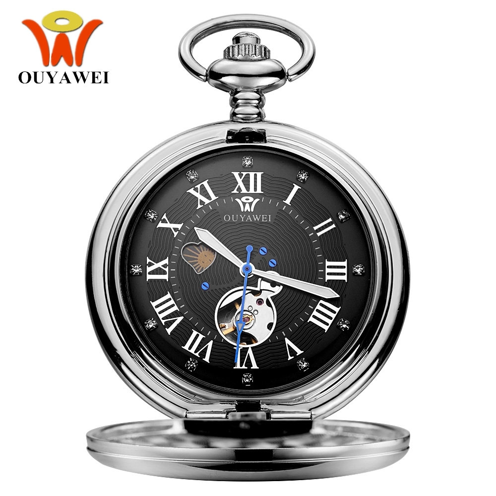 Luxury Brand OUYAWEI Mechanical Pocket Watch Men Full Steel Case Pocket Fob Watch Analog Silver Black Dial Vintage Male Clock цена и фото