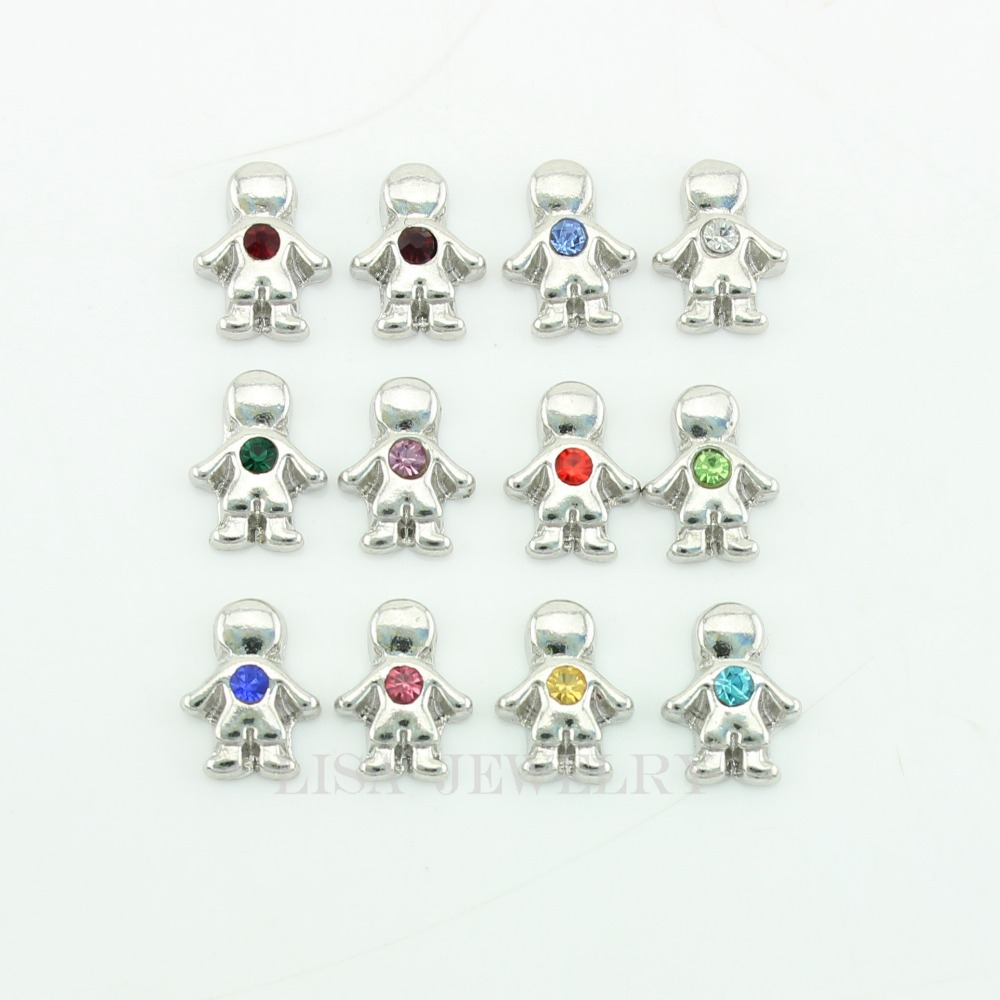 120PCS/LOT little boys birthstone floating charms For Living Glass Memory Lockets per month 10pcs