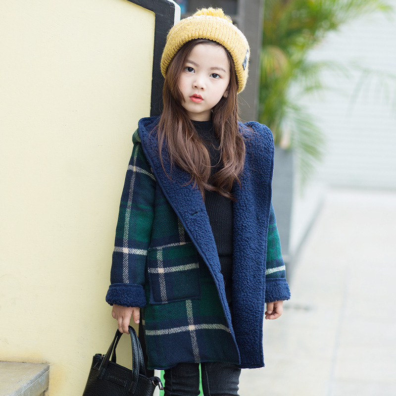 Outerwear Girls Fleece Jackets Winter Plaid Hooded Kids Jackets Red and Green Color Girls Jacket Children Long Coats Kids 3-12Y inclined half zip plaid spliced front pocket color block hooded long sleeves men s slim fit flocky hoodie