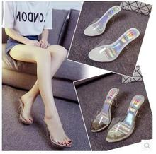 Shoes Woman Summer Sexy High-heeled Sandals Slippers Female Transparent Crystal Waterproof Drag Sandals Thick Fish Head Sandals
