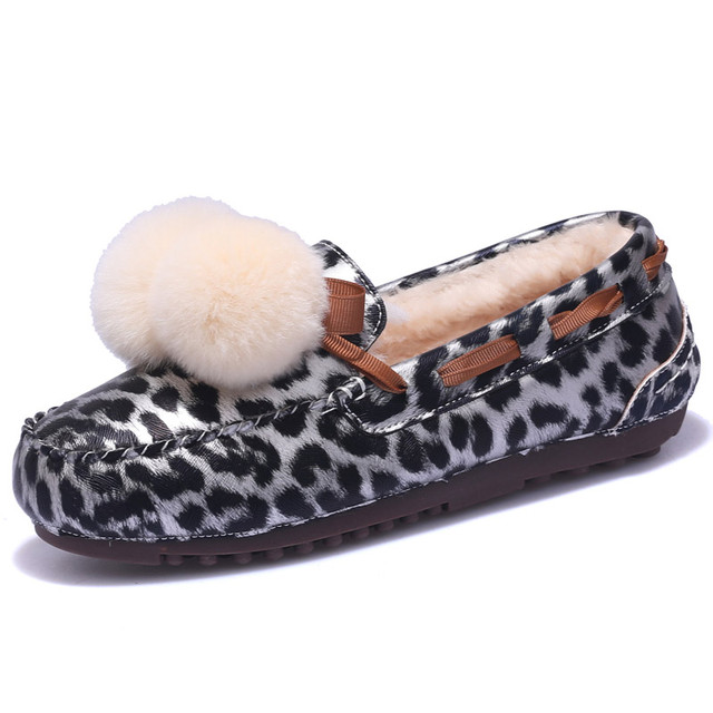 ARANSUE 2018 Korean version winter warm shoes women casual Flat fur shoes with hair cotton shoe leopard female slip on flats