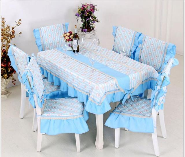 Blue Yonder Floral Border Printing Tablecloth Set Suit 150*200cm Table Cloth  Matching Chair Cover