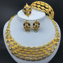 F&Y Retro Gold Bridal Jewelry Sets for Women Dubai Necklace Earrings Nigerian Wedding African Beads Jewelry Set 2017 new yellow crystal nigerian wedding necklace african beads jewelry set for women bridal jewelry sets free shipping abk132