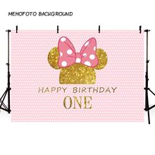 MEHOFOTO Birthday Photography Backdrop Pink Wave Point Minnie Mouse Photo Background Mickey Mouse Party Backdrop Decoration(China)
