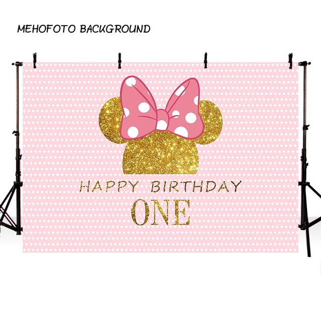 MEHOFOTO Birthday Photography Backdrop Pink Wave Point Minnie Mouse Photo Background Printing Party Backdrop Cake table Decorate