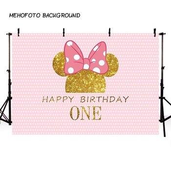 MEHOFOTO Ponto Onda Rosa Minnie Mouse do Fundo Da Foto Fotografia Fundo Aniversário mesa de Impressão pano de Fundo da Festa Bolo Decorar