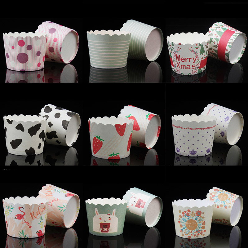 BAKEST 100pcs/lot Small-Sized Mechanism Cake Paper Cups Cupcake Baking Paper Multi Style Cake Paper Cup Birthday Party Favor