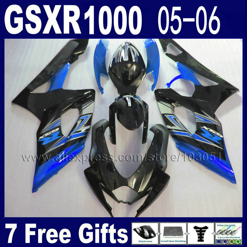 Alta qualiy stampato Ad Iniezione carenature del motociclo kit per suzuki 2005 K5 nero blu 2006 gsxr1000 GSXR 05 1000 06 carenatura kit