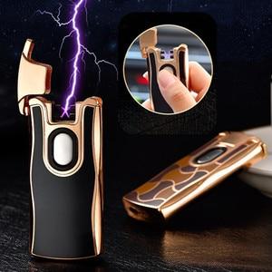 Image 1 - Новинка 2017 года USB электрическая двойная дуговая металлическая зажигалка перезаряжаемая плазменная Зажигалка сигарета Сенсорное зондирование импульсный крест гром Ligthers