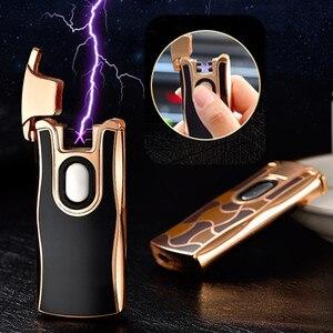 Image 1 - 2017 nowy USB elektryczny podwójny łuk metalowa zapalniczka akumulator zapalniczka plazmowa papierosów czujnik dotykowy Pulse Cross Thunder zapalniczki