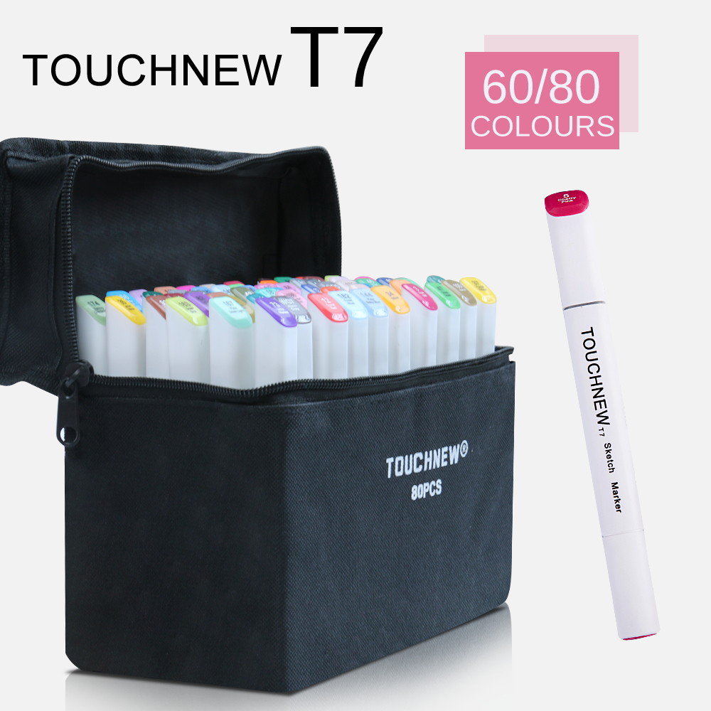 TOUCHNEW T7 60/80 colors dual tips sketch markers black bag for drawing painting design manga art supplies touchnew t6 60 colors dual tips white barrel sketch markers case packed for drawing painting design manga art supplies