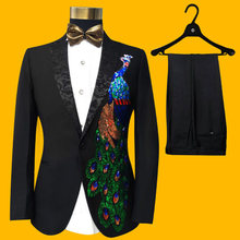 Freeship 100 real mens black rhinestone beading peacock tuxedo suit event studio sing stage performance jacket
