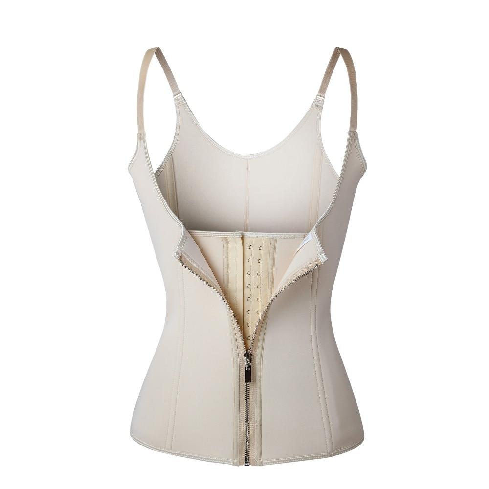 Warnen Einstellbare Schulter Gurt Taille Trainer Weste Korsett Frauen Zipper Haken Körper Former Taille Cincher Bauch-steuer Abnehmen Shapewear