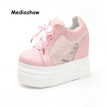 555d6ee81 2018 Летняя мода белый розовый увеличить 14 см обувь на толстой платформе  женские(China)