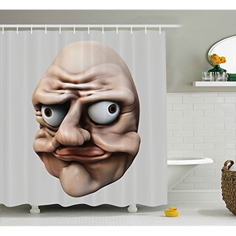 Vixm Humor Shower Curtain Grumpy Internet Troll Face With Trippy Gestures Ugly Post Meme Joke Image Fabric Bath Curtains