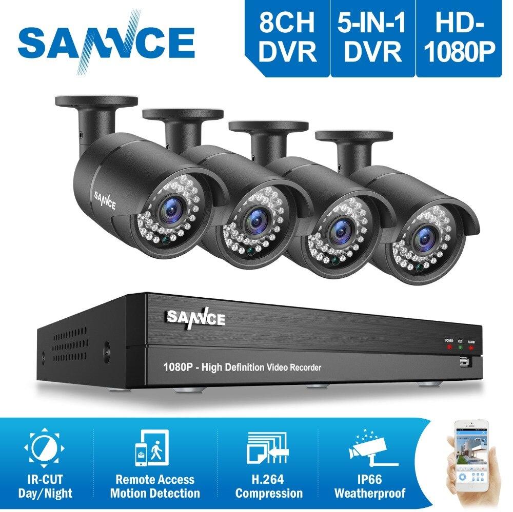 SANNCE HD 8CH 1080 P système cctv 2.0MP 1920*1080 P caméras de sécurité IR En Plein Air 8 canal 1080 P système de vidéosurveillance DVR kits