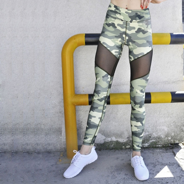 c62f2d2670d0f2 JIGERJOGER 2017 Green Camouflage Black Mesh patches women's camo Yoga  Leggings Two tone running tights Gym