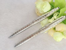 Free Shipping - Unique design Luxury MB roller ball Pen pure Silver monte checkered metal high grade MB Pen stationery No Box