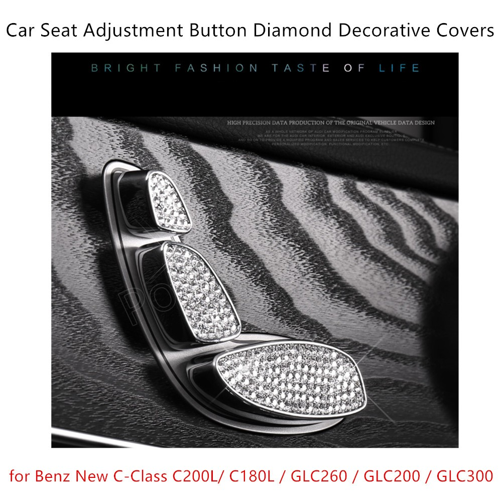 For B-enz New C-Class C200L/C180L/GLC260/GLC200/GLC300 S/eat Adjustment Button Diamond Decoration Cover 3 Colors Available 6 Pcs