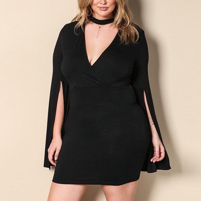 Femme grande taille noir Mini robe mode elégante soirée fête Vestidos grande taille col en v manches longues fendues moulante robes