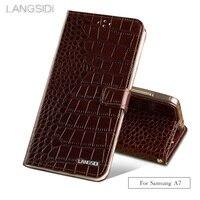Wangcangli brand phone case Crocodile tabby fold deduction phone case For Samsung A7 cell phone package All handmade custom