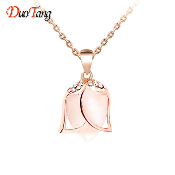 Detail Feedback Questions about DuoTang Flower Necklaces Zinc Alloy Opal  Rhinestone Link Chain Pendant Necklace Chokers Necklaces For Women Jewelry  X0027 on ... 8f176ce8c899