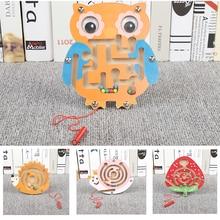 Материалы Монтессори Развивающие деревянные игрушки для детей раннего обучения детей дошкольного возраста для обучения, на магните Лабиринт логическая игра головоломка