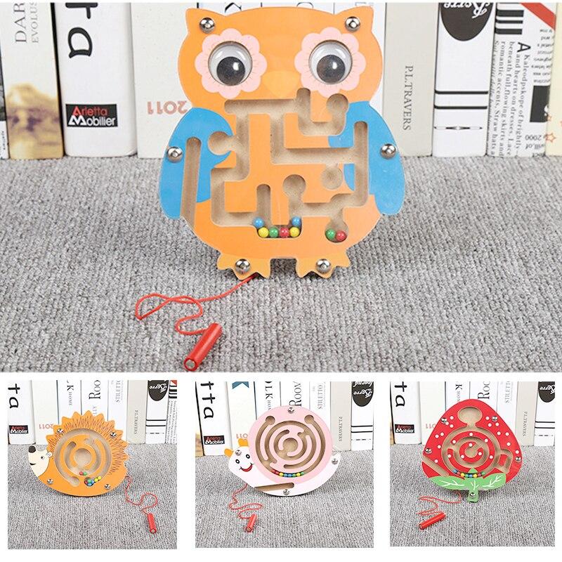 Materiales Montessori Juguetes Educativos de madera para niños Aprendizaje Temprano preescolar enseñanza laberinto magnético laberinto cerebro Teaser 20 tipo DIY de Control remoto inalámbrico de carreras de modelo Kit de madera para niños de ciencia física de juguete ensamblado juguete educativo de coche
